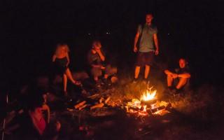Camping on Danube river bank