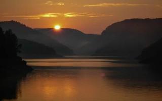 Sunset on lake Uvac, western Serbia