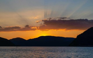 Sunset from Toma's camp on the Danube, Iron Gate