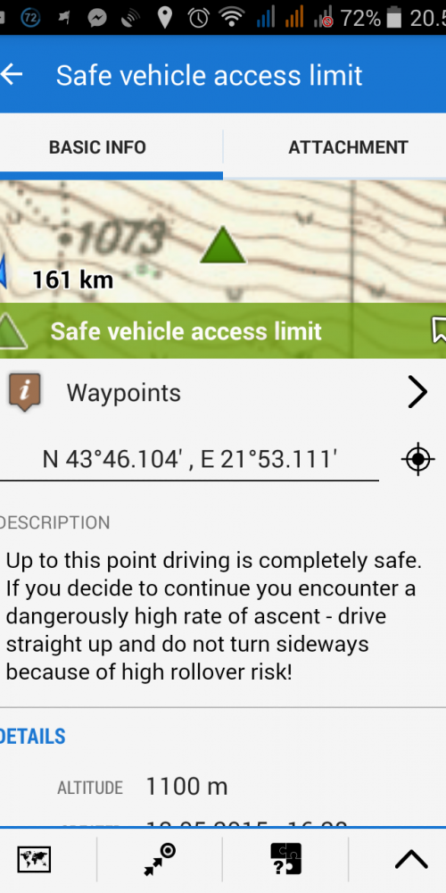 Detailed descriptions of waypoints