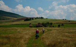 Biking in the Uvac lakes area, western Serbia